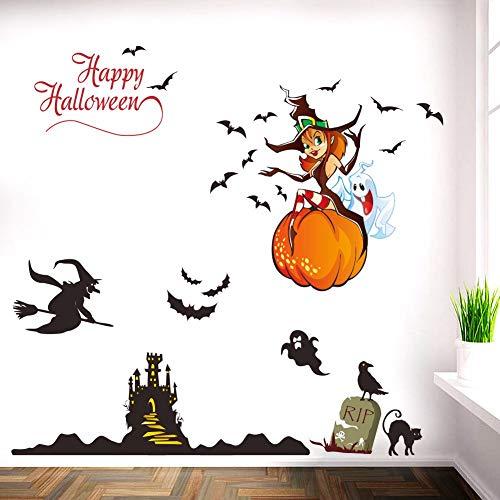 Happy Halloween Wandaufkleber für Party Club Bar Wohnzimmer Decor Abnehmbare schöne Hexe Geist Wandtattoos Kunst Wandbilder