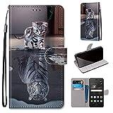 Miagon Flip PU Leder Schutzhülle für Huawei P9 Lite,Bunt Muster Hülle Brieftasche Case Cover Ständer mit Kartenfächer Trageschlaufe,Katze Tiger