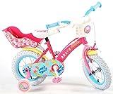Kinderfahrrad Mädchen12 Zoll Peppa Pig Vorradbremse am Lenker und Rücktrittbremse Stützräder Pink für 85% Montiert