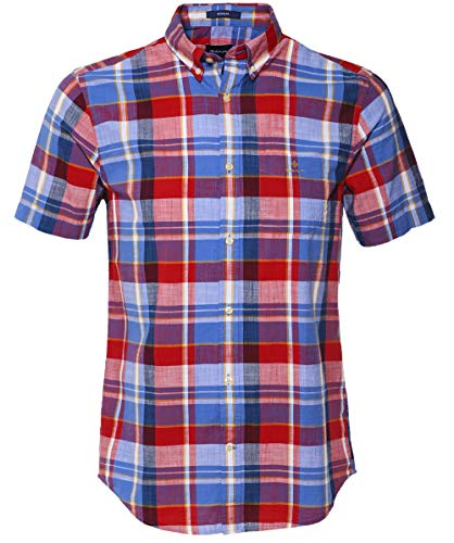 GANT Herren Regelmäßige passende Kurze Ärmel Madras Check-Shirt Rot L -