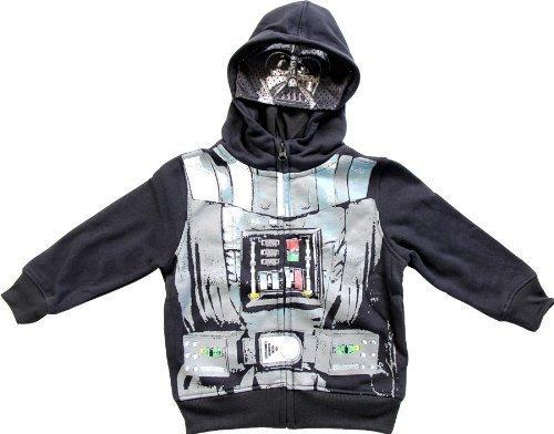 Star Wars Jungen Darth Vader schwarz Zip Up Kostüm Hoodie Sweatshirt (Kleinkind (Vader Kostüm Kleinkind Darth)