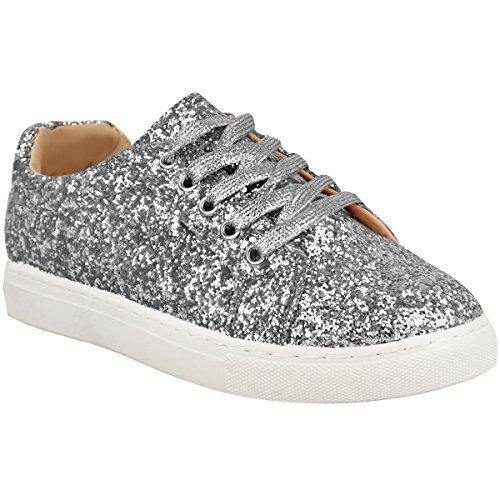 Chaussures Pour Femmes à Lacets Paillette Brillantes Baskets Gym Fitness Taille