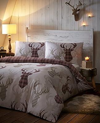 Tartan Stag Check Reversible Natural Cream Red Animal Print Quilt Duvet Cover Bedding Set - cheap UK light store.
