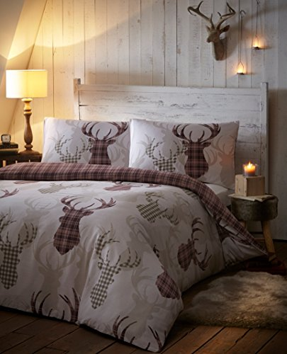 parure-bed-with-reversible-duvet-cover-for-single-bed-red-animal-motif-deer-tartan-squares-natural-b