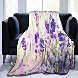 Ultra-Soft Micro Fleece Soft And Warm Throw Blanket, Lavender, Dreamlike Spring Day with Fresh Blossoms Aromatic Delicate Wild Flowers,60' 50', Lavender Lilac Green