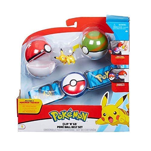 Character Optiions Pokemon Clip & Go Pokeball Gürtel Set - Grün & Rot