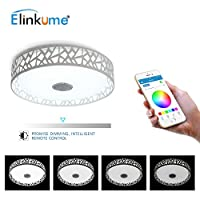 ELINKUME Ceiling Light with Bluetooth Speaker Multi Colour LED Ceiling Lamp,3000-6500K. (white+rgb) by ELINKUME