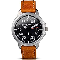 Chotovelli Aviator Men's Watch Analogue display Vintage Brown Leather Strap 33.01