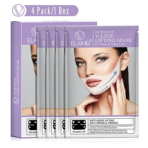 V-Shape Chin Mask - Anti-Age Face Slimming Lifting Patch - Double Chin Neck Zone Fat Reducer - V-Line Anti Wrinkle Firming Moisturizing Tape Mask - Chin Care Tightening Band - Pack of 4 Masks