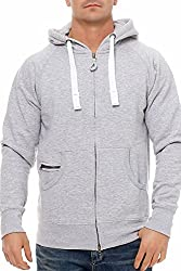 Happy Clothing Herren Kapuzenjacke mit Zip, Grau Meliert, 3XL