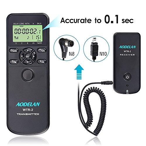 AODELAN WTR2 Kabelloser Fernauslöser Timer für Nikon D5300, D850, D810, D700, D500, D4, D5, D4s, D3100, D5000, D7200, D600, D610, D750, D3200, D3300 Replace MC-DC2, MC-36 -
