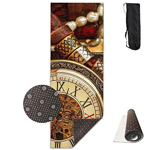 FGRYGF Non Slip Fitness Exercise Mat, Workout Mat for Yoga, Pilates and Floor Exercises, Retro Styke Jewels Clock Deluxe Yogamatte Aerobic Exercise Pilates