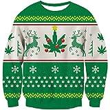 Goodstoworld Reindeer Ugly Christmas Sweater Partner 3D Elf Grafik Hässliche Weihnachtspullover für mädchen männer Santa XXL
