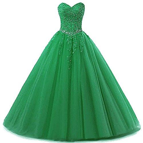 Zorayi Damen Liebsten Lang Tüll Formellen Abendkleid Ballkleid Festkleider Grün Größe 40