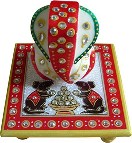 SHINING WINGS - Marble Chowki Ganesha Idol (10 cm x 10 cm x 10 cm) (25) - Marble Chowki Ganesh with Mushak Design |Marble Chowki Ganesh with Mushak Design | Small Solid Marble Modern Ganash Statue Engraved with Stones Hindu Religious Gifts Indian Decor a Perfect Idea for House Warming Gift, Ganpati Ganesh Idol Great Size for Small Home,Hindu Indian Elephant God Figurine Statue Sculpture, Statue of Lord Ganesha Mosaic Statue with Marble Choki, Modern Articraft Design in Red and Green  available at amazon for Rs.175