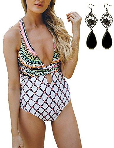 Sitengle Damen Badeanzüge mit Kreuz und Bänder Karo Schwimmanzug Push up Tankini Bikini Beachwear Bathing Suit Tauchanzug,mehrfarbig,XL (Paisley Bras Womens)