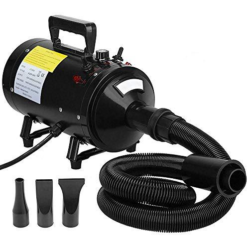 TSTLCLLMZ Dog Dryer, 2800W Dog Cat Pet Hairdryer Grooming Adjustable Wind Speed Temperature Setting Blaster Blower, mit Verlängerungsschläuche, 3 Düsen,Black -