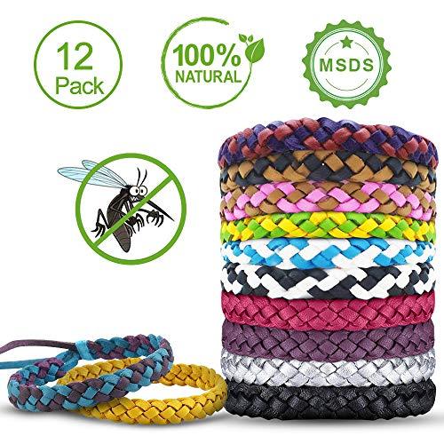 Tonitott braccialetto antizanzare, bracciale repellente antizanzare natural 100% senza tossine bracciale repellente 12 pezzi bracciali di cuoio alla moda adatto per bambini e adulti