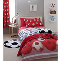 Football Red Single Bed Duvet Quilt Cover by Homespace Direct