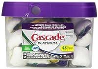 43 Count Cascade Platinum Actionpacs Lemon Burst Scent Dishwasher Detergent 43