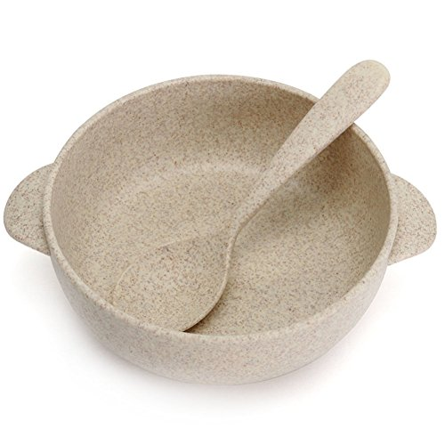 Butterme Nordic Style Eco Friendly Wheat Straw Plastic Dinnerware Set Ellipse Shape Soup Noodle Rice Bowl with Spoon for Baby Kids 51gu3JTxbvL