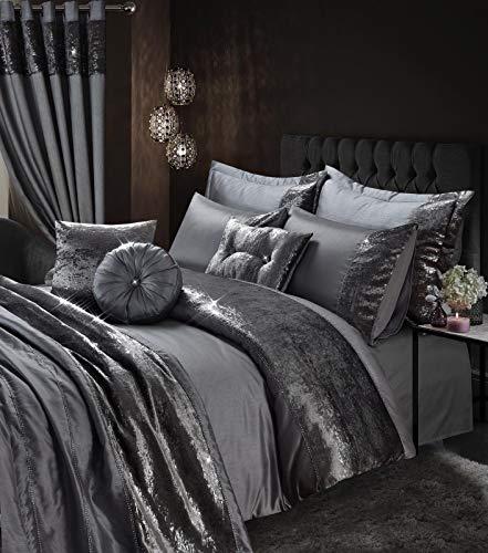 Skippys Katie Grau Luxus Bettwäsche 200x200 cm 7 TLG. Set Grau Bettbezug 200x200 cm + 2X Kissenbezug 50x75cm + Spanbettuch +Kissens (Luxus-bettwäsche)
