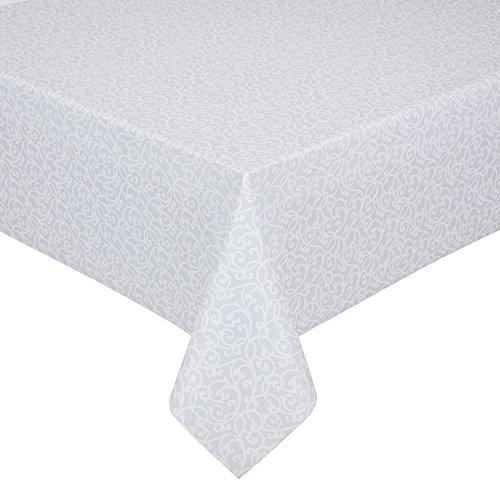 Peyer Tischdecke Barock mit Fleckschutz, verschiedene Größen, weiß-silber, Größe Tischwäsche:Tischdecke rund 155 cm (Silber Tischwäsche)