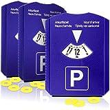 com-four® Disco di parcheggio 3X con raschiaghiaccio, Labbro in Gomma e Chip per Carrello della Spesa - parchimetro in plastica (03 Pezzi - Disco di parcheggio con Chip)