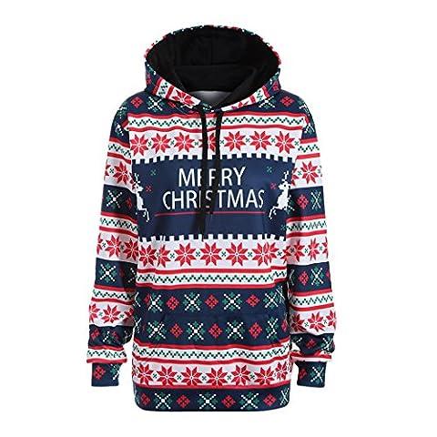 Frohe Weihnachten Frauen Kapuzenpullover,FRIENDGG Damen Mädchen Herbst Winter Lässige Mode Brief Schneeflocke Tops Sweatshirt Pullover Bluse T-Shirt Elegante Jacke Outwear Pullover Hoody (S, Blau)