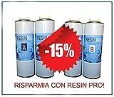 15% di sconto. Un' offerta speciale (1,6kg + 1,6kg)–Set resina epossidica trasparente/Multiuso kg 1,6+ Resina epossidica trasparente/Multiuso kg 1,6–Effetto aqcua