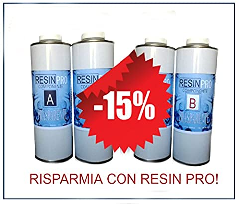 15% de rabais. Une offre spéciale (1,6kg + 1,6kg)–Set résine époxy Transparent/Multi-usages kg 1,6+ résine époxy Transparent/Multi-usages kg 1,6–Effet