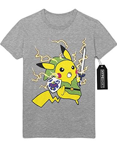 T-Shirt Pokemon Go Pikachu Link Mashup Legend of Zelda Hyrule Mastersword Triforce Trainer Kanto Official Gym Leader X Y Nintendo Blue Red Yellow Plus Hype Nerd Game C123133 Grau M