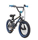 BIKESTAR Bicicletta Bambini 4-5 Anni da 16 Pollici Bici per Bambino et Bambina BMX con Freno a retropedale et Freno a Mano Nero & Blu