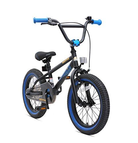 BIKESTAR Kinderfahrrad für Mädchen und Jungen ab 4-5 Jahre | 16 Zoll Kinderrad Kinder BMX Freestyle | Fahrrad für Kinder Schwarz & Blau