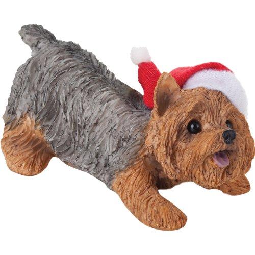 Sandicast Yorkshire Terrier with Santa Hat Christmas Ornament -