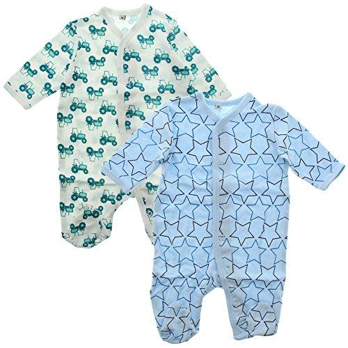 Pippi 2er Pack Baby Jungen Schlafstrampler mit Aufdruck, Langarm mit Füßen, Alter 0-1 Monate, Größe: 50, Farbe: Hellblau, 3821 (Neugeborenen Traktor Kleidung)