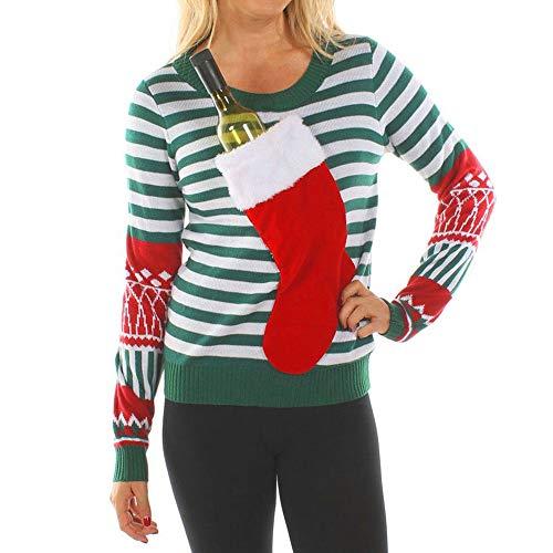 Dorical Weihnachts Sweatshirt Damen Grün Weihnachtsstrumpf Oberteile Sweatshirt T-Shirt Hochwertige Hässliche Modische Einfarbiger Pullover Kostüm für Frauen Günstige Kaufen Online Sale