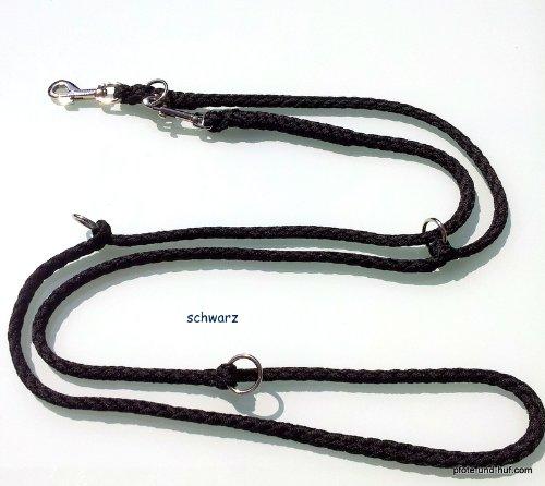 Hundeleine Doppelleine 2,80m 4fach verstellbar schwarz