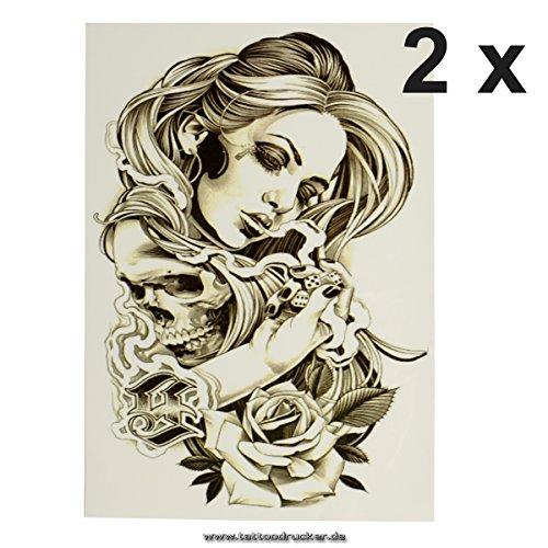 2 x Frau + Würfel + Totenkopf + Rose - schwarzes XL einmal Haut Tattoo - HB870 (2)