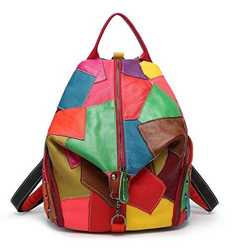 DFHJKY Rucksack Patchwork Echtes Leder Taschen Frauen Tasche Für Mädchen Schulrucksäcke Für Teenager-Mädchen Bunte Kuh Leder Rucksack