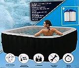 XQmax idromassaggio Gonfiabile, 600 Litri, per 4 Persone, 150 x 150 x 64 cm, Pompa, Elemento riscaldante 1200 W