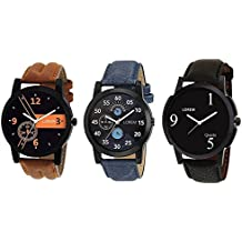 Om Designer Analogue Black Dial Men's & Boy's Watch Leather Strap Combo Pack of 3