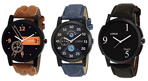 Om Designer Analogue Black Dial Men\'s & Boy\'s Watch Leather Strap Combo Pack of 3