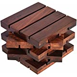 Wood Art Store Coasters For Drinks-Hot & Cold/Wooden Coaster Sets With Holder/Dining, Tea & Coffee Table Decorative Cocktail Coasters