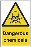 vsafety Schilder 6a018au-r Gefährliche Chemikalien Achtung Substanz und chemische Zeichen, 1mm starrer Kunststoff, Portrait, 200mm x 300mm, schwarz/gelb