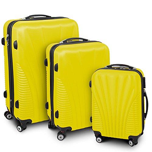 Kofferset 3-teilig Reisekoffer Trolley Hartschalenkoffer ABS Teleskopgriff Modell 'Funnel' (Gelb)