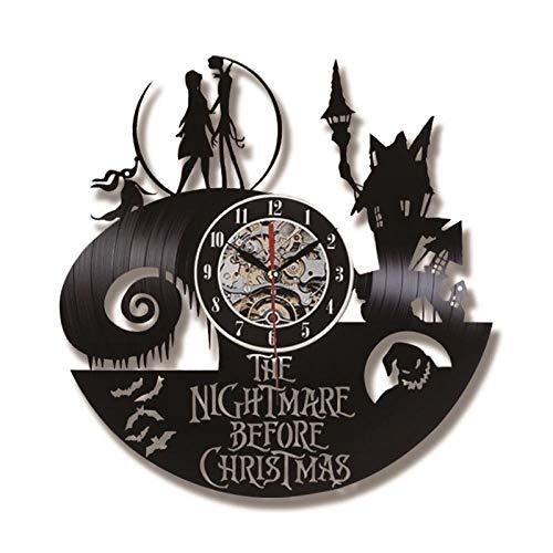 Blanze Der Alptraum vor Weihnachten Thema CD Record Clock 3D Jack und Sally Film hängen LED Wanduhr kreative antike Clock-in Wanduhren (Antike Jack In The Box)