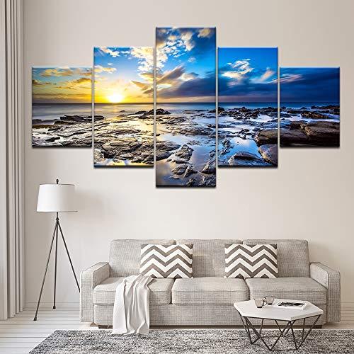 YUHONG Leinwand Malerei Idee Seelandschaft mit verwelkten Sonnenuntergang 5 Wandbilder Kunst Malerei modulare Tapete Poster Wohnkultur - Ideen Malerei