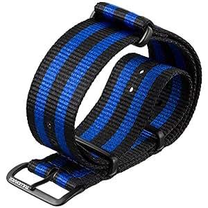 ZULUDIVER G10 NATO Blue Bond Watch Strap, Black & Blue, PVD IP Black 18mm