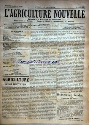 AGRICULTURE NOUVELLE (L') [No 590] du 09/08/1902 - AGRICULTURE PAR MARCHAND - BERTHOT - DEMARTY - HORTICULTURE PAR MOTTET - MAGNIEN ET LEROUX - VITICULTURE PAR CANU ET BATTANCHON - MENSURATION DE LA RACE CHAROLAISE PAR VACHER - LE GOUJON PAR DE LA RIVE - LES GUEPES PAR DURAND